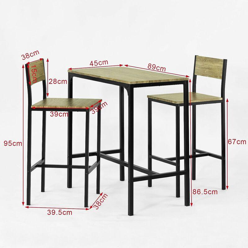 Ensemble Table Et Chaise Cuisine.Ensemble Table De Bar 2 Chaises Set De 1 Table 2 Chaises Table Haute Cuisine Sobuy Ogt03