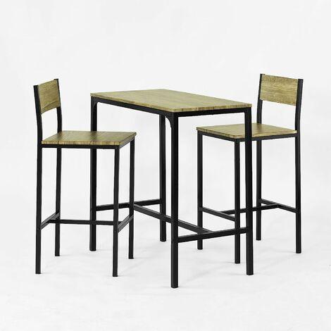 Ensemble table de bar + 2 chaises, Set de 1 Table + 2 Chaises, Table haute cuisine SoBuy® OGT03