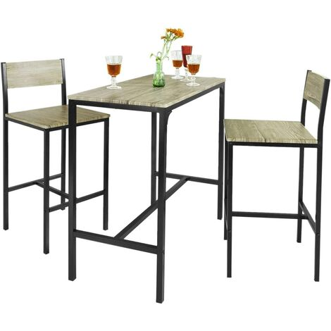 Ensemble table de bar + 2 chaises, Set de 1 Table + 2 Chaises, Table haute cuisine SoBuy® OGT03