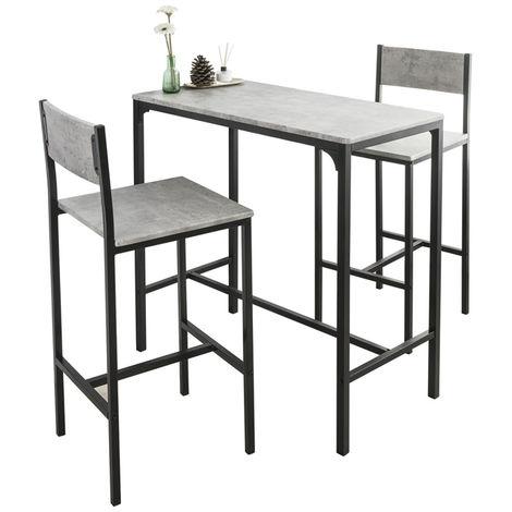 Ensemble Table de Bar + 2 Chaises Set de 1 Table + 2 Tabouret Haut de Bar Table Haute Cuisine Salle à Manger Bistrot,SoBuy OGT03-HG