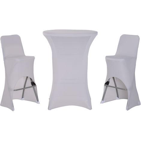 Ensemble table de bar + 2 tabourets de jardin pliable métal époxy ...