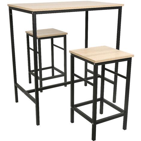 Ensemble table de bar bistrot + 2 tabourets avec repose-pieds Table Mange-debout Table haute cuisine