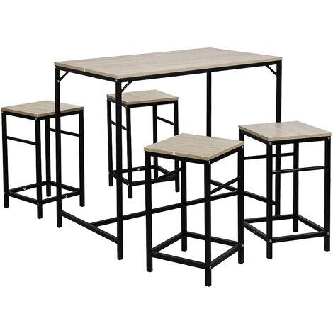 Ensemble table de bar bistrot + 4 chaises avec repose-pieds table mange-debout table haute cuisine
