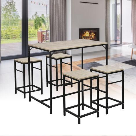 Ensemble table de bar bistrot 4 tabourets avec repose-pieds table mange-debout table haute cuisine