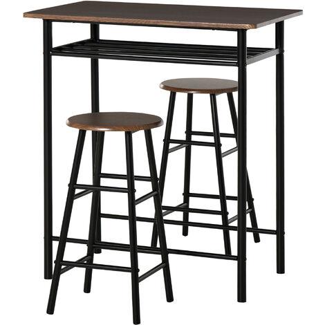 Ensemble table de bar design industriel + 2 tabourets MDF imitation bois noyer métal noir