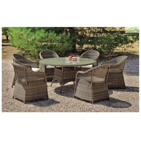 Ensemble table de jardin Ø 150 cm + 6 fauteuils AMANDA HEVEA