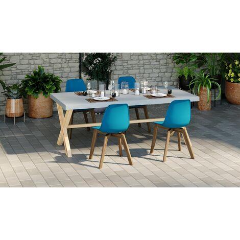 Ensemble table de jardin 6 à 8 personnes en fibre de ciment Robin + 4 chaises scandinaves bleues avec pieds en bois massif Suzy - Gris