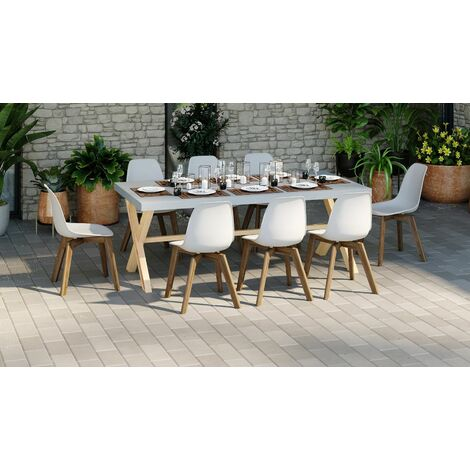 Ensemble table de jardin 6 à 8 pl. en fibre de ciment Robin + 8 chaises scandinaves blanches avec pieds en bois massif Suzy - Gris