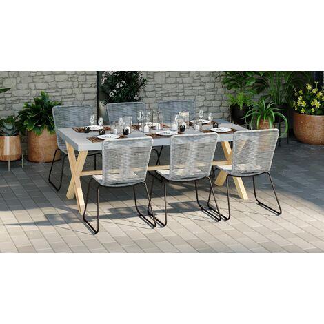 Ensemble table de jardin 6 à 8 places en fibre de ciment Robin + 6 chaises acier galvanisé et corde grises Erin - Gris