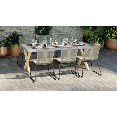Ensemble table de jardin 6 à 8 places en fibre de ciment Robin + 6 chaises acier galvanisé et corde naturel Erin - Gris