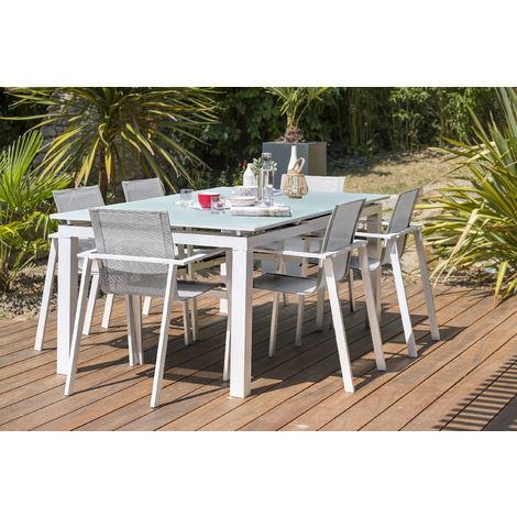 Ensemble table de jardin à rallonge automatique en aluminium ...