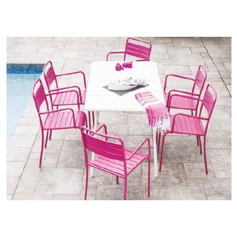 Ensemble Table de jardin blanche + 6 chaises Santa Lucia F6 Fushia