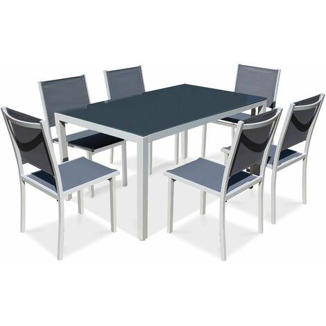 ensemble table de jardin et 6 chaises en aluminium gris. Black Bedroom Furniture Sets. Home Design Ideas