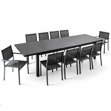 Ensemble Table de jardin extensible 256/320 cm et 10 chaises Albi - Gris