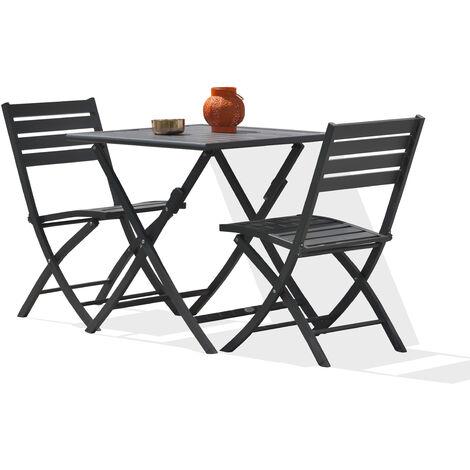 Ensemble table de jardin MARIUS pliante en aluminium 70x70