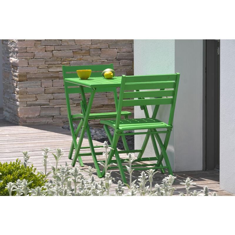 Ensemble table de jardin MARIUS pliante en aluminium 70x70 cm + 2 chaises pliantes VERT