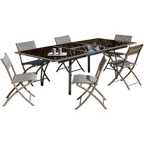 Ensemble table de jardin ˆ rallonge papillon et plateau verre + 6 chaises  pliantes en aluminium et textil ne - CAPPUCCINO