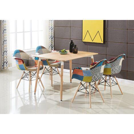 Ensemble Table Effet Chêne + 4 Chaises avec Accoudoirs en Tissu Patchwork - Design Scandinave