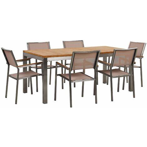 Ensemble table en bois teck avec 6 chaises beiges GROSSETO