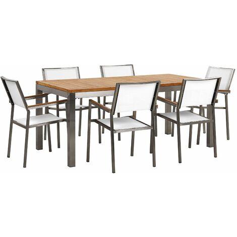 Ensemble table en bois teck avec 6 chaises blanches GROSSETO