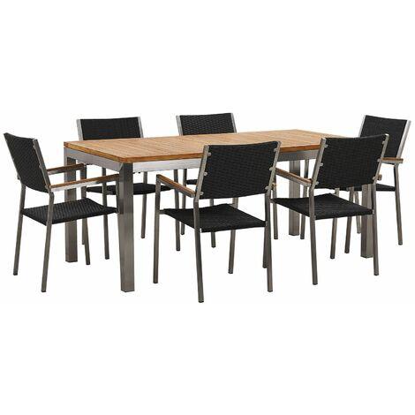 Ensemble table en bois teck avec 6 chaises en rotin noires GROSSETO