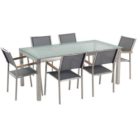 Ensemble table en verre effet brisé avec 6 chaises grises GROSSETO