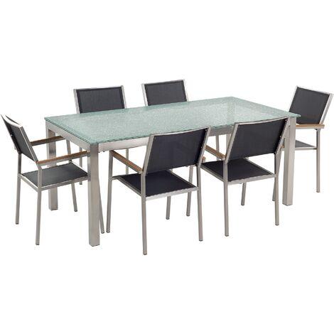 Ensemble table en verre effet brisé avec 6 chaises noires GROSSETO