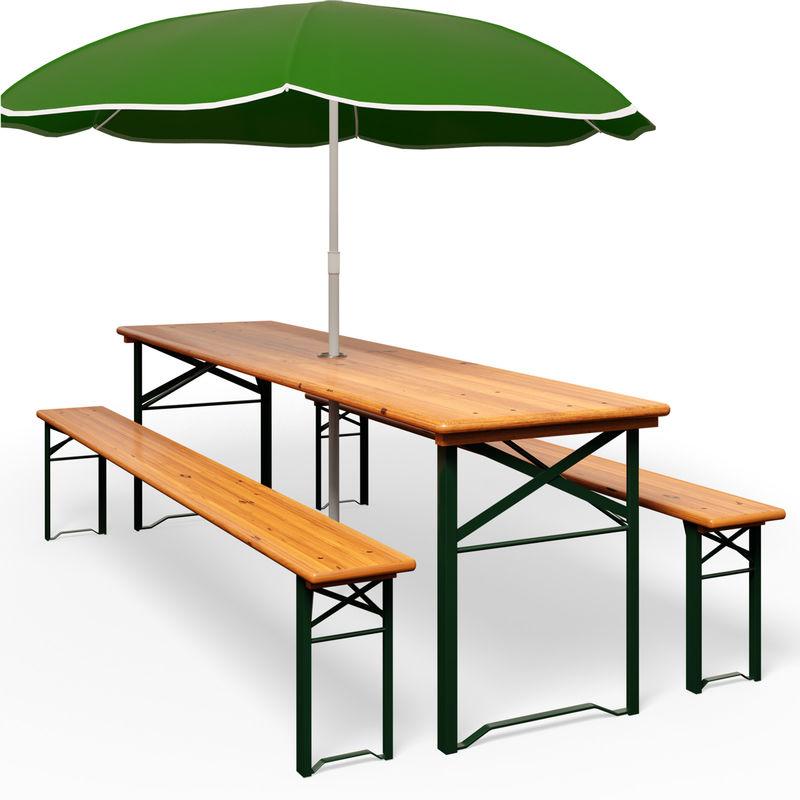 Ensemble Table et 2 bancs de jardin avec trou pour parasol - Salon ...