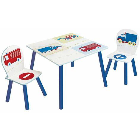 Ensemble table et 2 chaises motif Voitures PEGANE
