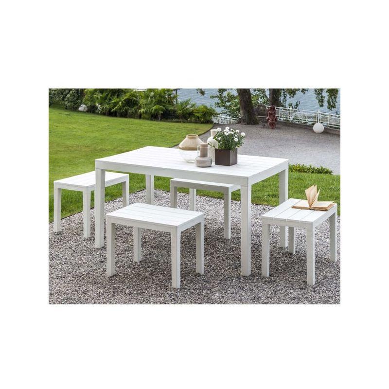 Ensemble table et bancs de jardin en PVC coloris blanc 138 x 80 cm - 4  personnes