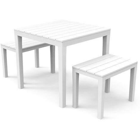 Ensemble table et bancs de jardin en PVC coloris blanc 78 x 78 cm - 2  personnes