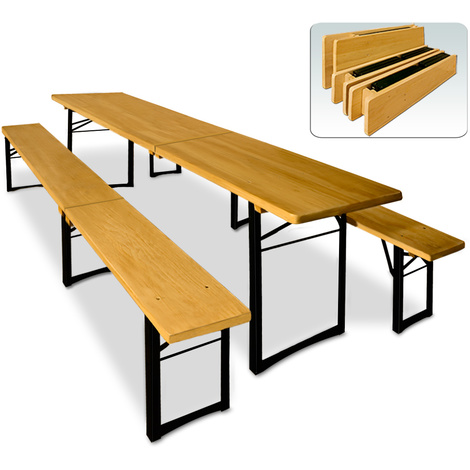 Ensemble table et bancs pliable en Bois - 220 cm pour Jardin ...