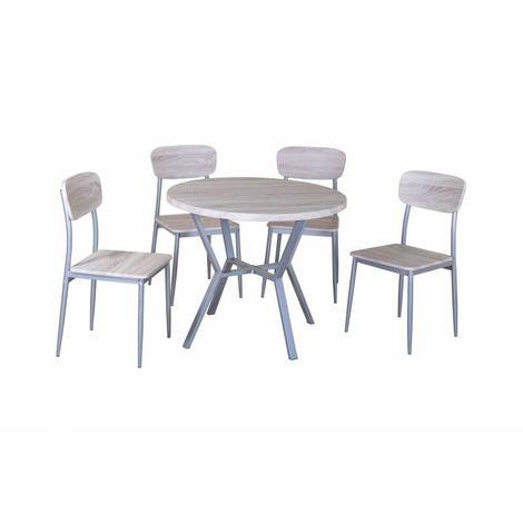 Ensemble table et chaises contemporain chêne/gris Nordic - Chêne sonoma