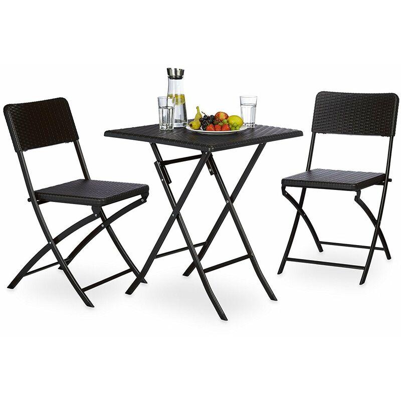 Ensemble table et chaises de jardin en métal terrasse balcon camping noir