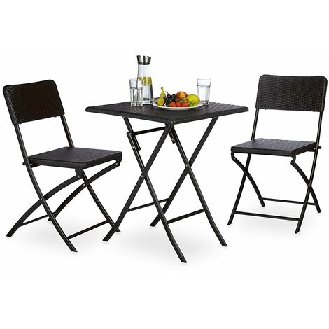 Ensemble table et chaises de jardin en métal terrasse balcon camping ...