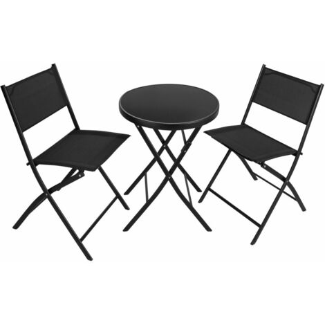 Ensemble table et chaises de jardin noir - Noir