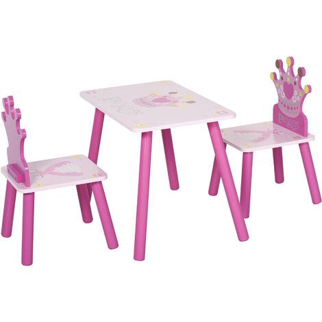 """main image of """"Ensemble table et chaises enfant design princesse motif couronne bois pin MDF rose"""""""