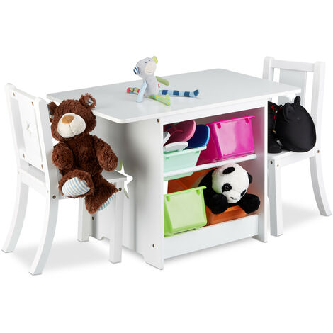 Ensemble table et chaises enfants en bois ALBUS pour les filles et les garçons table avec emplacement pour caisses de rangement, blanc