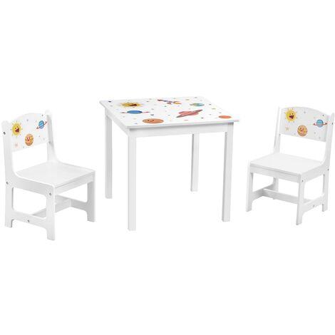 Ensemble Table et chaises pour Enfants, Lot de 3, 1 Table et 2 chaises, Meubles de Salle de Jeux pour Enfants, Chambre d'enfant, garderie, Blanc GKR010W01 - Blanc