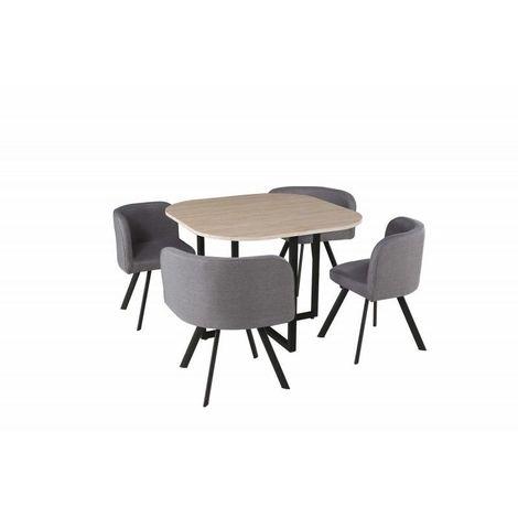 Ensemble table et chaises - Table carré + 4 chaises de la collection BIARITZ.
