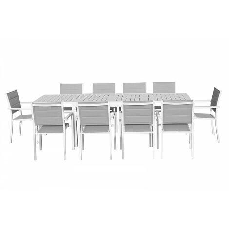 Ensemble table extensible + 10 fauteuils blanc/gris clair CLOÉ