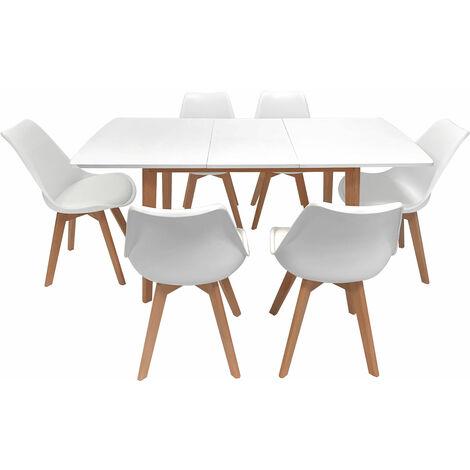 Ensemble table extensible 120/160cm et 6 chaises scandinave blanc NORA