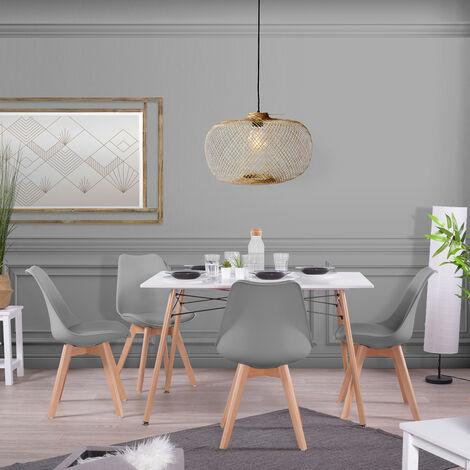 Ensemble table grise et chaises 4 places scandinave blanches plastique bois