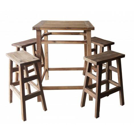 Ensemble table haute - 4 tabourets de bar bois de teck - VICKY - Bois