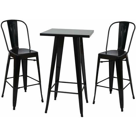 Ensemble table haute avec 2 tabourets de bar en métal noir style industriel - noir