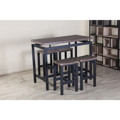 Ensemble table haute, bar + 4 tabourets NIMES. Set moderne ...