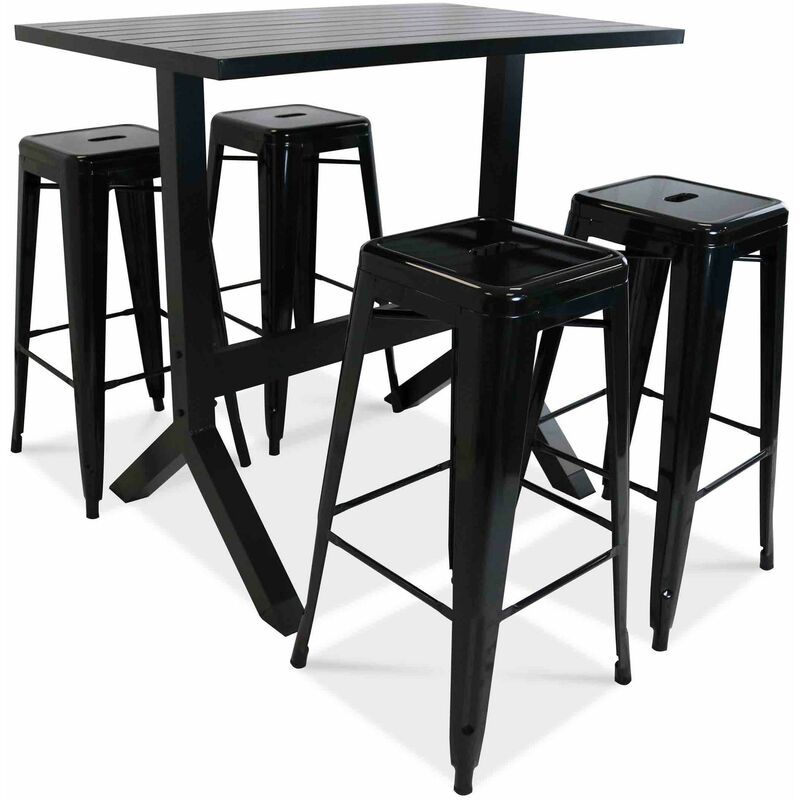 Ensemble table haute et 4 tabourets de jardin - Gris