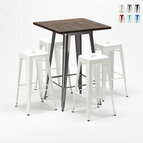 Ensemble table haute et 4 tabourets en métal Tolix style industriel WILLIAMSBURG