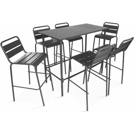 Ensemble table haute et 6 tabourets Palavas Palavas - Gris - Noir