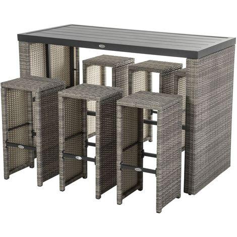 Ensemble table haute et chaises Tasmania - 6 Personnes - Marron havane - Marron